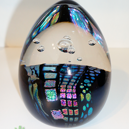 dichroic glass egg paperweight